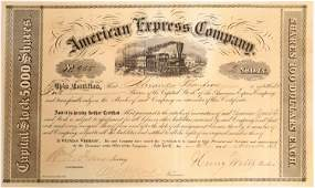 Early American Express Stock Certificate, Period 1,