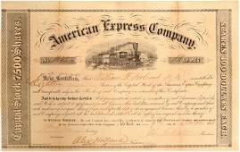 American Express Stock Certificate Signed by