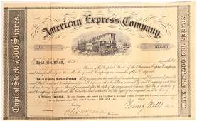 American Express stock Certificate Signed by Wells and