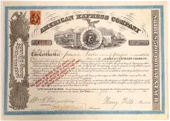 American Express stock certificate, type VII, signed by
