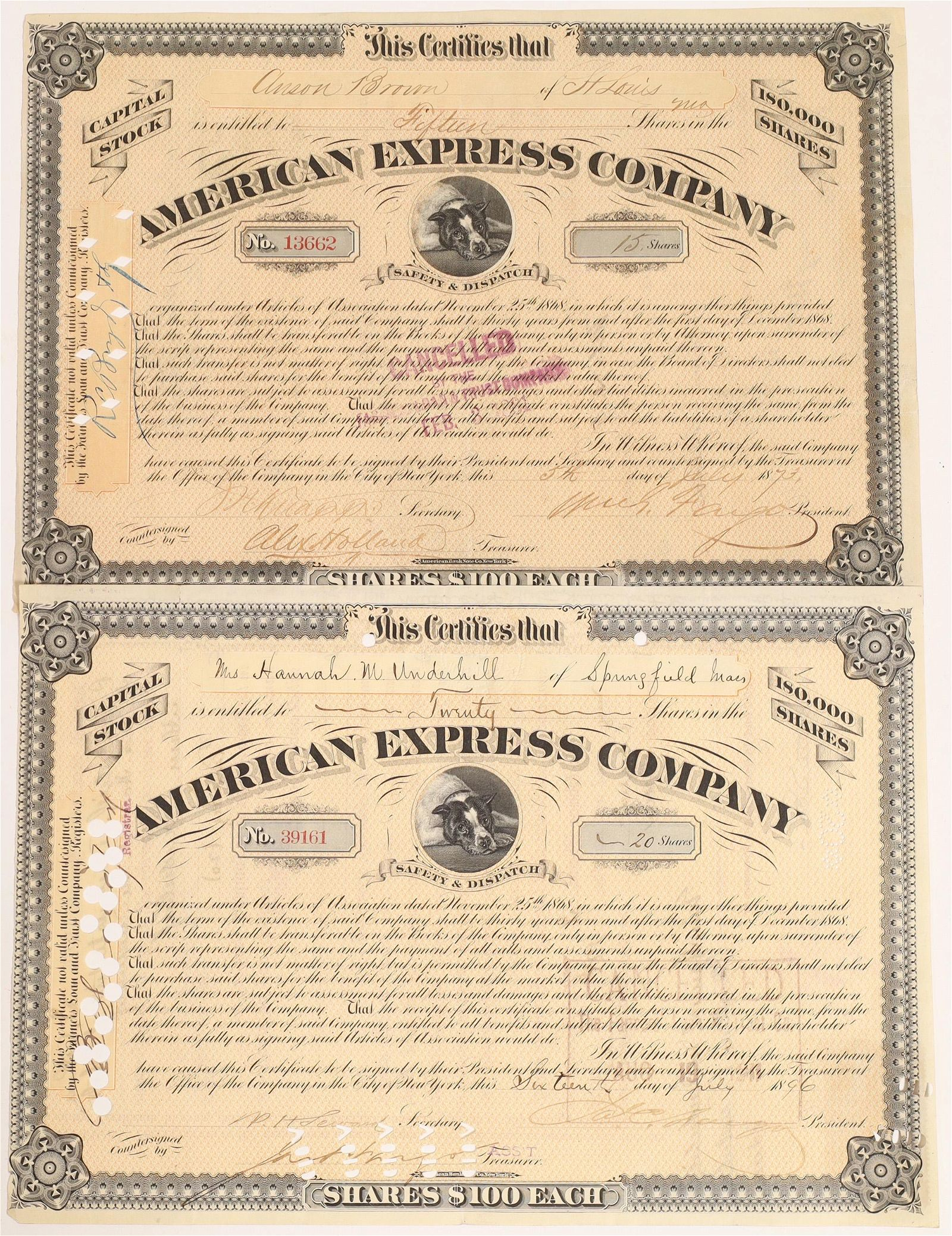 American Express stock certificates, type VIII, two