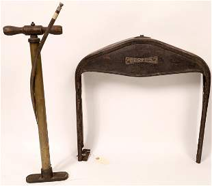 Vintage Ford Model T Radiator Frame & Tire Pump