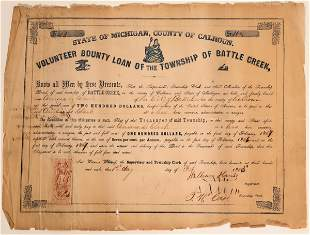 Volunteer County Loan for the Township of Battle Creek