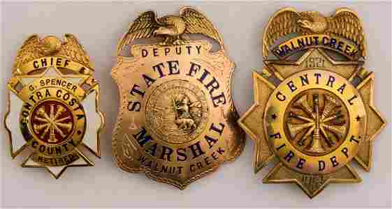 Gold California Fire Department Badges, and Firemen's