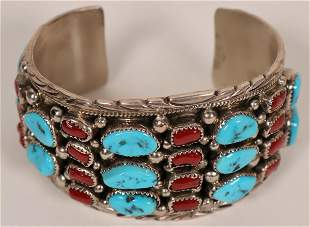 Vintage Sterling Silver Turquoise and Coral Cluster
