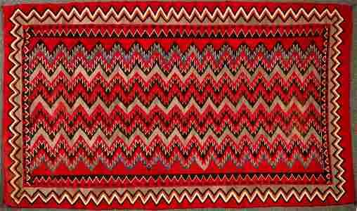 Red Mesa Navajo Rug - 5 ft x 8.5 ft - Beautiful