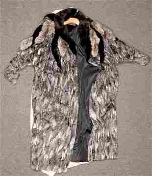 Kirkendall Women's Grey Fur Coat with Rhinestones -