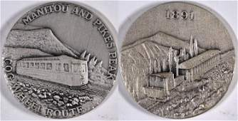 Manitou and Pikes Peak Cog Wheel Route Silver Medallion
