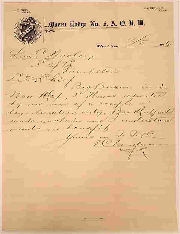 Letterhead of Queen Lodge No. 6 A. O. U. W. [137570]