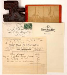 Arizona Ephemera: Billhead, Stereoview, Printer's Block