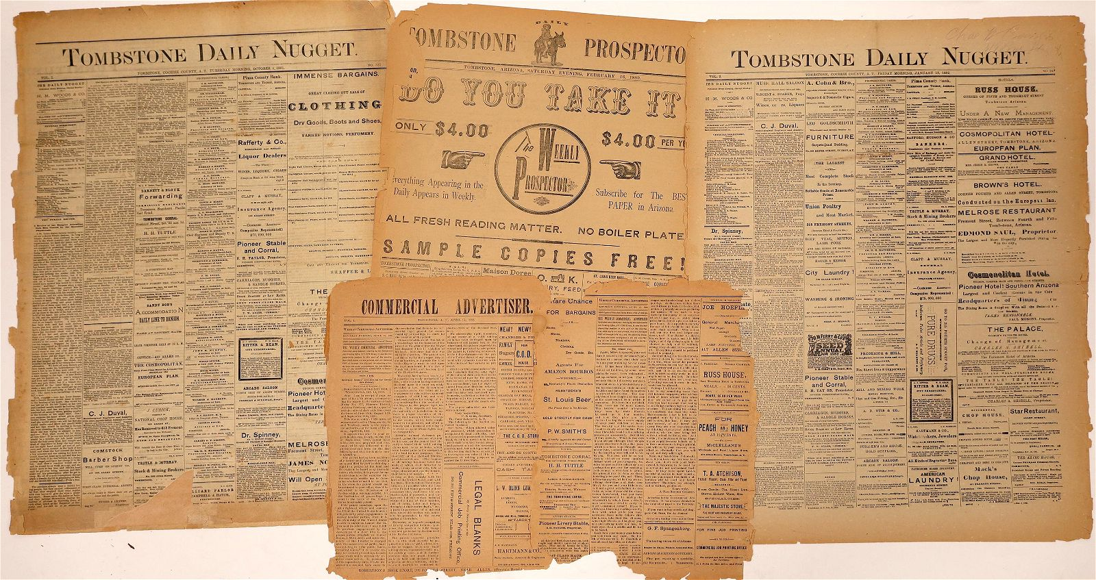 Four Rare Tombstone, A.T. Newspaper Sections [136025]