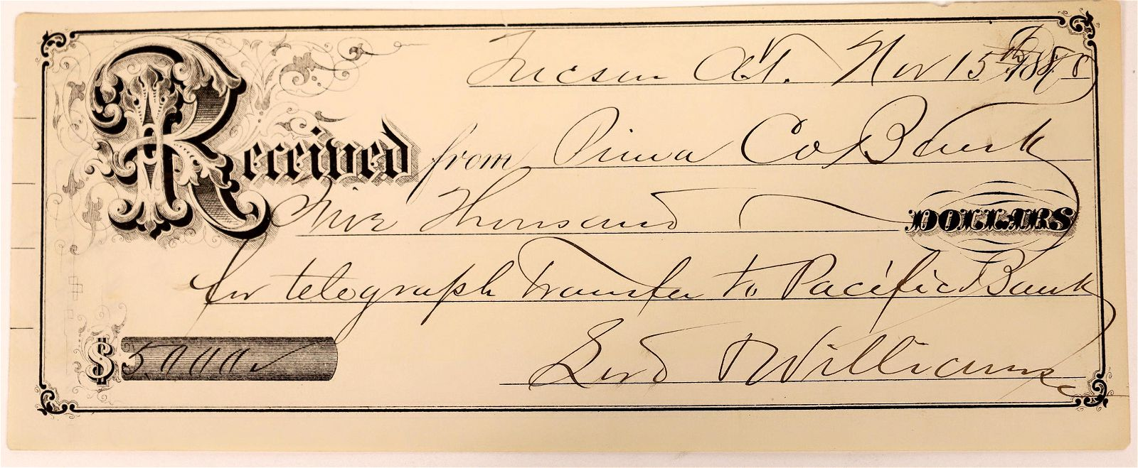 Tucson Check for Telegraph Transfer to a Pacific Bank