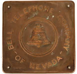 Bell Telephone Company of Nevada Original Bronze Sign