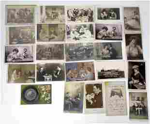 Gambling Related Real Photo Postcards with Playing