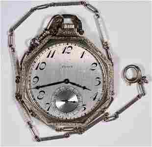 14K White Gold Elgin Pocket Watch & 14k Chain [136550]