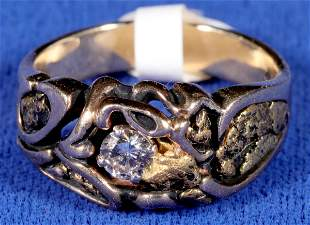 Unique Gold Nugget and Diamond Ring [133842]