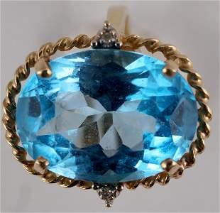 Blue Topaz Oval Gold Ring [137761]