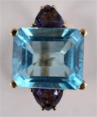 Emerald Cut Blue Topaz Gold Ring [137762]