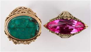 Man's Emerald Ring/Woman's Topaz Ring [137291]