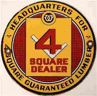 4 Square Guaranteed Lumber Headquarters Enamel Sign