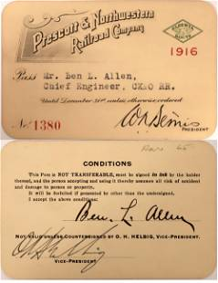 Rare Prescott & Northwestern Railroad Pass [132597]