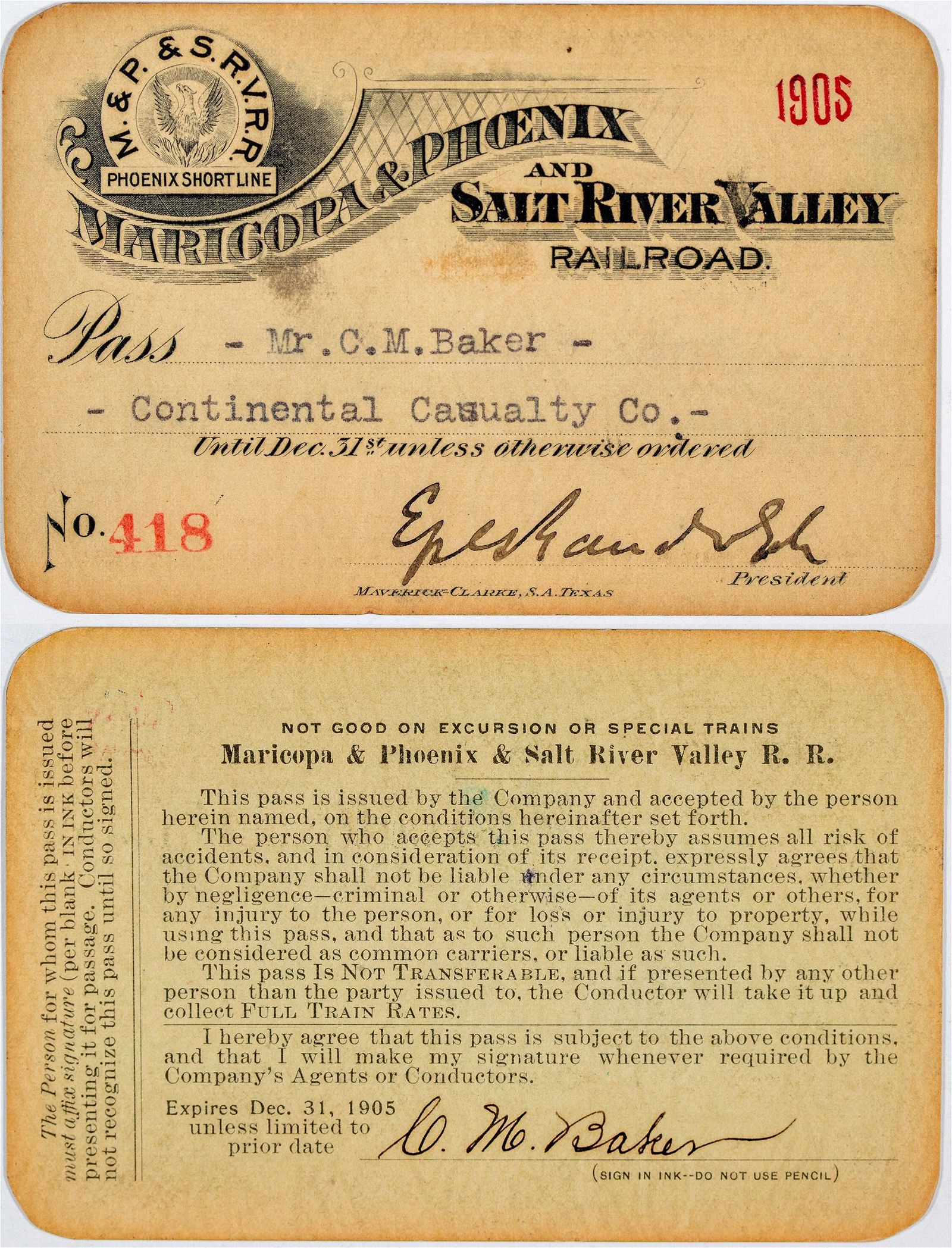 Maricopa & Phoenix and Salt River Valley Railroad Pass