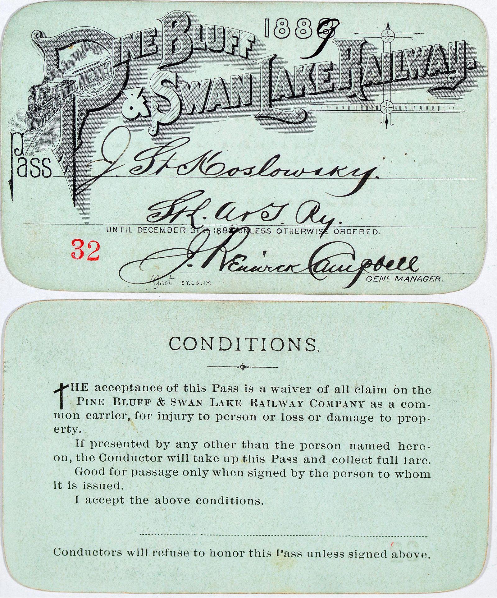 Pine Bluff & Swan Lake Railway Annual Pass [138865]