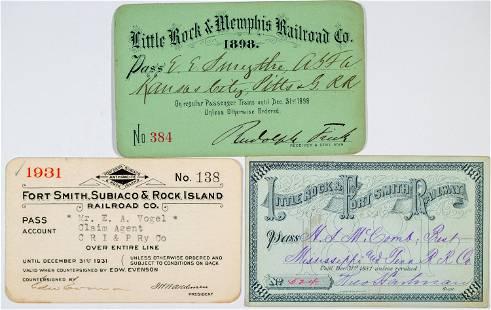 Arkansas Railroad Passes Lot of 3 [138891]