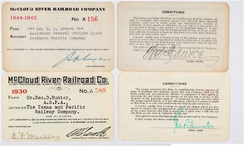 McCloud River Railroad Company Annual Pass Pair