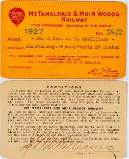 Mt. Tamalpais & Muir Woods Railway Annual Pass