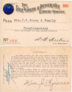 Forth Worth & Denver City Railway Company Annual Pass