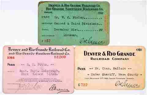Denver & Rio Grande Railroad Annual Pass Trio [138892]