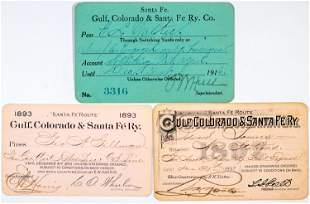 Gulf, Colorado & Santa Fe Railway Co. Annual Pass Trio