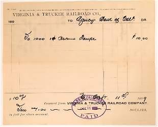Virginia & Truckee Railroad Receipt for Revenue Stamps