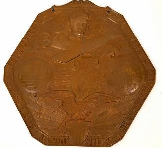 Gutzwa Relief Bronze Plaque of Charles Lindbergh