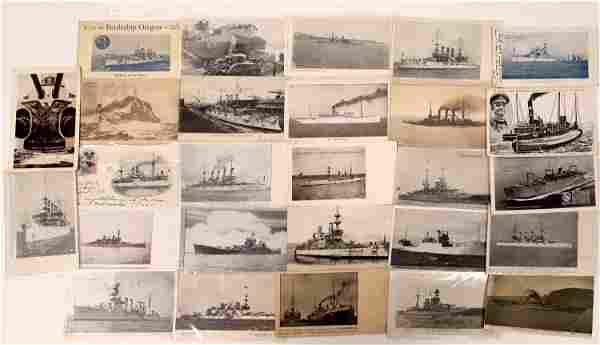US Navy Postcard Group 8, Battleships & Carriers -(25)