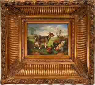 Billy Goat with Chickens Painting [136566]