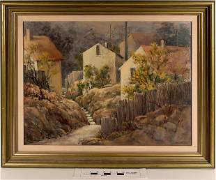 "European Village Scene titled ""Neighbors"" by Marilee"