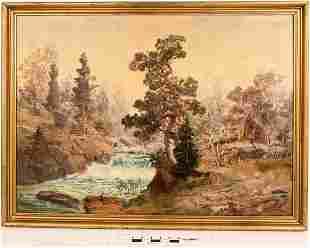 Mountain River Scene Oil Painting [124993]