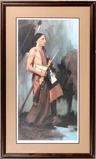 Native American Warrior with Winchester by Fellows