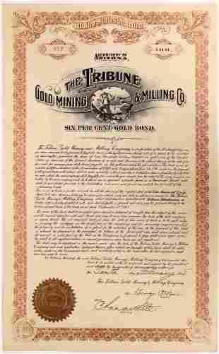 Bond Certificate for the Tribune Gold Mining & Milling