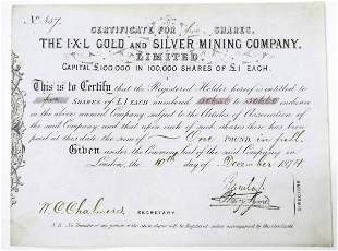 IXL Gold and Silver Mining Company Stock Certificate