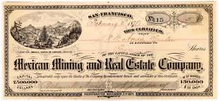 Stock Certificate for the Mexican Mining and Real