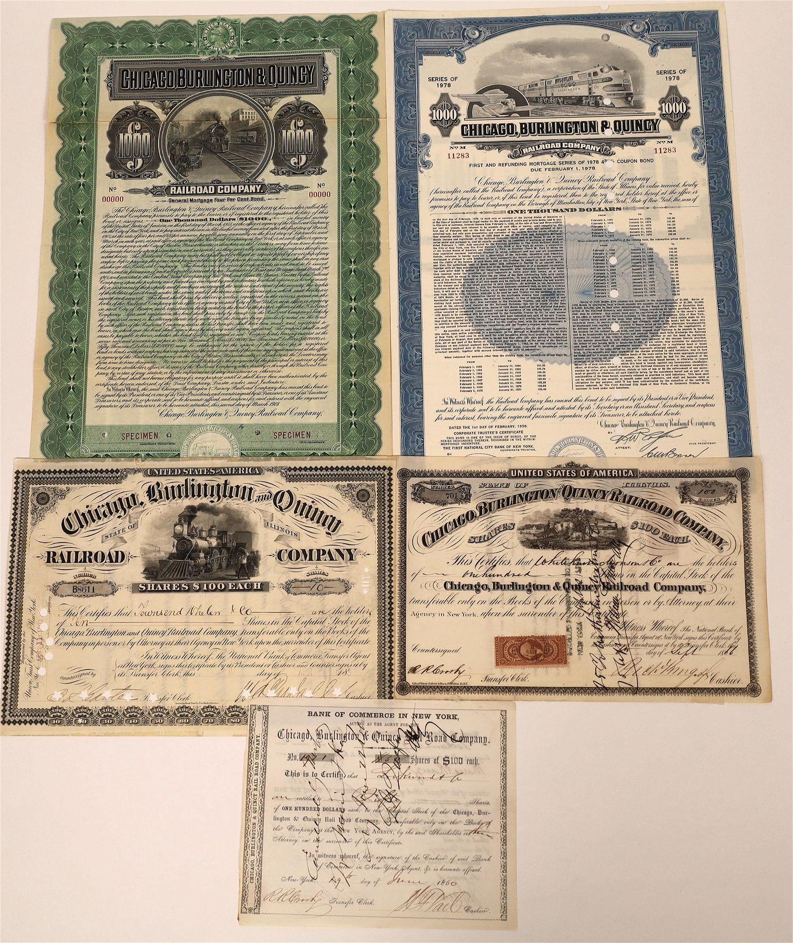 Chicago, Burlington & Quincy RR Stock & Bond Certs (5)