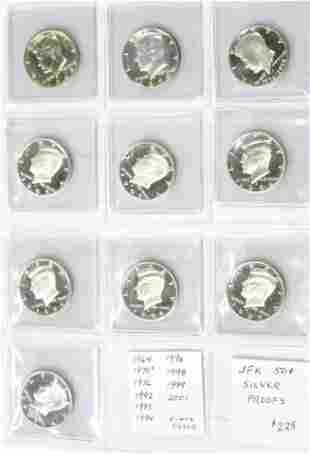 Kennedy Half-Dollar Proof Coins - 9 Silver, 1 Clad