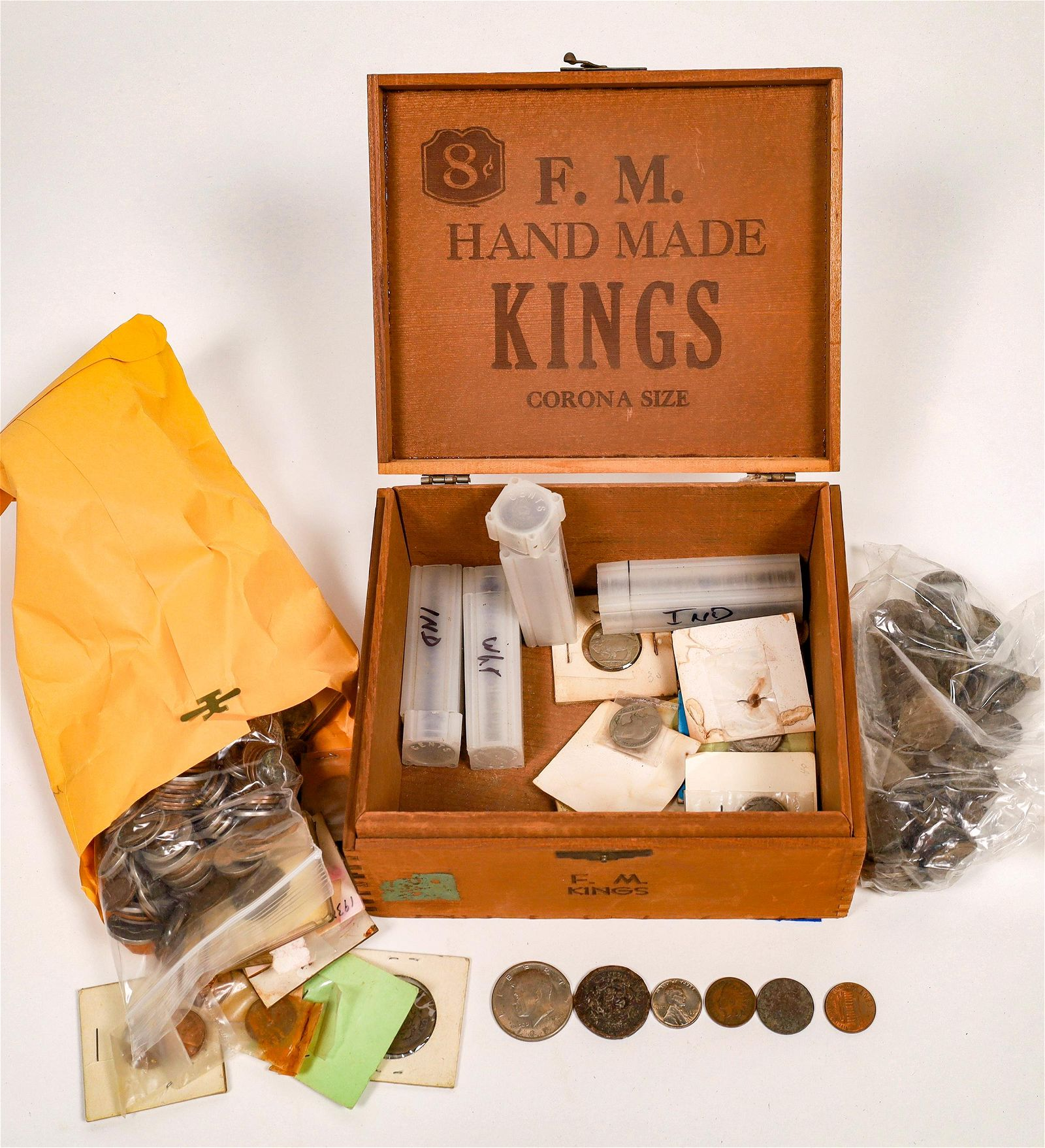 Wooden Cigar Box of Coins [136406]