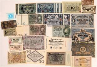 German Currency, 5 Marks to 20 BILLION Mark notes