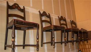 Antique Wood Ladder Back Chairs with Red Leather Seats
