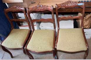 Antique Wooden Chairs with upholstered seat cushions