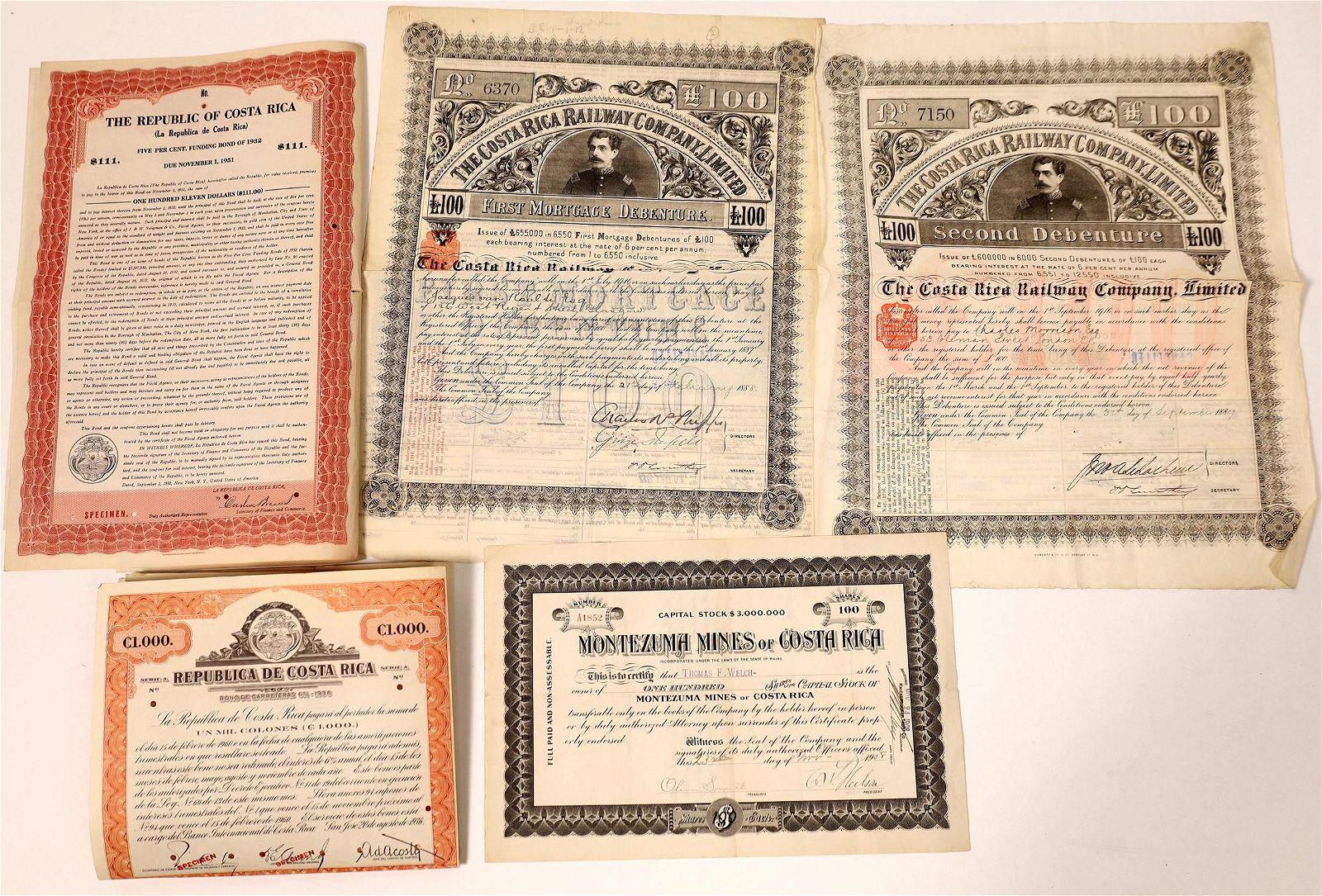 Costa Rican Stock & Bond Certificates [135950]